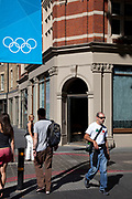 During the London2012 Olympics the city was adorned with banners including those adorned with the Olympic rings in different colours.