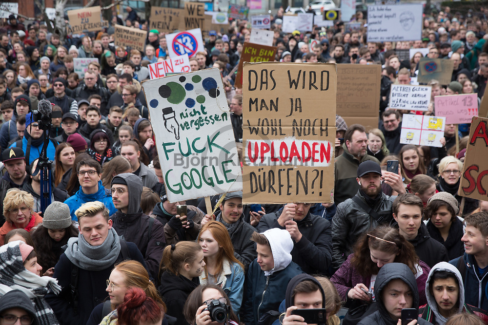 Berlin, Germany - 02.03.2019<br /> <br /> Article 13 Demo in Berlin. Several thousand people protest against the EU copyright reform and against upload filters. <br /> <br /> Artikel 13 Demo in Berlin. Mehrere Tausend Menschen protestieren gegen die EU Copyright-Reform und gegen Upload-Filter. <br /> <br /> Photo: Bjoern Kietzmann