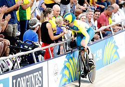 Australia's Jacob Schmid celebrates after winning bronze in the Men's Sprint Finals at the Anna Meares Velodrome during day Three of the 2018 Commonwealth Games in the Gold Coast, Australia.