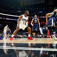 25 March 2016: LA Clippers center DeAndre Jordan (6), LA Clippers guard Chris Paul (3), Utah Jazz center Rudy Gobert (27) and Utah Jazz center Rudy Gobert (27) are seen during the Los Angeles Clippers 108-95 victory over the Utah Jazz, at the Staples Center, Los Angeles, California, USA.