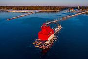 Early morning light hits the Sturgeon Bay Ship Canal Pierhead Lighthouse on Lake Michigan in Sturgeon Bay, Wisconsin