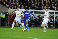 Willian of Chelsea makes a break. Barclays Premier League match, Swansea city v Chelsea at the Liberty Stadium in Swansea, South Wales on Saturday 17th Jan 2015.<br /> pic by Andrew Orchard, Andrew Orchard sports photography.