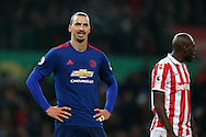 Zlatan Ibrahimovic of Manchester Utd looks on. Premier league match, Stoke City v Manchester Utd at the Bet365 Stadium in Stoke on Trent, Staffs on Saturday 21st January 2017.<br /> pic by Andrew Orchard, Andrew Orchard sports photography.