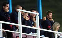 Photo: Richard Lane.<br />England 'B' v Belarus. International Friendly. 25/05/2006.<br />England's David Beckham (R) watches on from the stands.