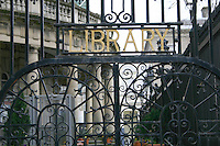 Gates at entrance to the National Library of Ireland, Kildare Street, Dublin, Ireland