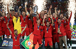 File photo dated 09-06-2019 of Portugal players celebrating with the trophy after the Nations League Final at Estadio do Dragao, Porto. Issue date: Tuesday June 1, 2021.