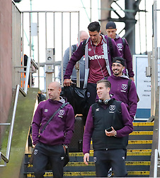 Pablo Zabaleta  and The West Ham team arrive at Piccadilly Train Station in Manchester ahead of their match against Burnley