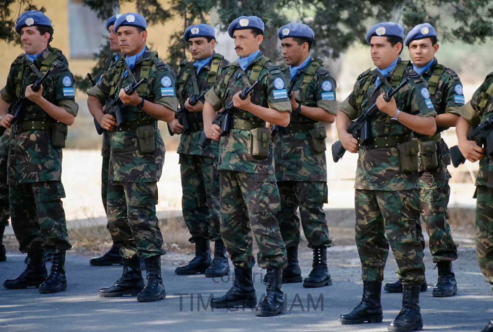 United Nations peacekeeping troops, Argentina force, at their UN base in Cyprus