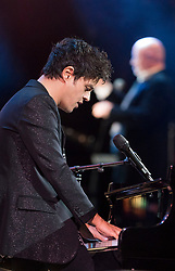 Jamie Cullum performs at the Royal Albert Hall in London during a star-studded concert to celebrate the Queen's 92nd birthday.