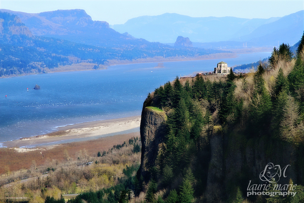 """Vista House was built between 1916-1918 as a memorial to Oregon pioneers, as a comfort station for those traveling on the Historic Columbia River Highway and as an observatory. The octagonal stone structure towers 733 feet above the Columbia River, is listed on the National Register of Historic Places and in the National Geographic Society's 2001 """"Save America's Treasures"""" book."""