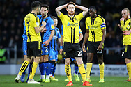 Burton Albion midfielder Stephen Quinn places his hands on his head as his team concedes a penalty during the EFL Sky Bet League 1 match between Burton Albion and Gillingham at the Pirelli Stadium, Burton upon Trent, England on 12 January 2019.