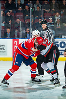 KELOWNA, BC - JANUARY 31: Jordan Chudley #5 of the Spokane Chiefs gets in the face of Tyson Feist #25 of the Kelowna Rockets during first period  at Prospera Place on January 31, 2020 in Kelowna, Canada. (Photo by Marissa Baecker/Shoot the Breeze)