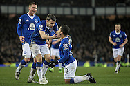 Aaron Lennon (Everton) is congratulated by his team mates for winning the penalty during the Barclays Premier League match between Everton and Newcastle United at Goodison Park, Liverpool, England on 3 February 2016. Photo by Mark P Doherty.