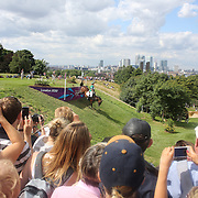 Marcio Carvalho Jorge, Brazil, riding Josephine navigates a difficult jump during the Cross Country event in the Eventing competition in front of massive crowds at Greenwich Park  during the London 2012 Olympic games. London. UK. 29th July 2012. Photo Tim Clayton