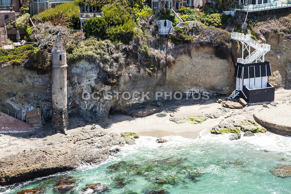 Aerial Stock Photo of Victoria Beach and Tower in Laguna Beach