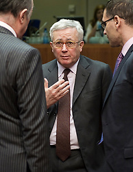Giulio Tremonti, Italy's finance minister, center, speaks to colleagues during the emergency meeting of European Union finance ministers in Brussels, Belgium, on Sunday, May 9, 2010.  European Union finance ministers meet today to hammer out the details of an emergency fund to prevent a sovereign debt crisis from shattering confidence in the 11-year-old euro. (Photo © Jock Fistick)