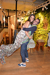 ROSANNA FALCONER and GEORGE RYAN at a party to celebrate the launch of Matthew Williamson: Fashion, Print and Colouring Book held at Anthropologie, 158 Regent Street, London on 8th September 2016.