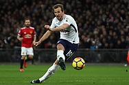 Harry Kane of Tottenham Hotspur takes a shot at goal. Premier league match, Tottenham Hotspur v Manchester Utd at Wembley Stadium in London on Wednesday 31st January 2018.<br /> pic by Steffan Bowen, Andrew Orchard sports photography.