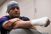 DALLAS, TX - MAY 13:  Eddie Alvarez has his hands wrapped before fighting Dustin Poirier during UFC 211 at the American Airlines Center on May 13, 2017 in Dallas, Texas. (Photo by Cooper Neill/Zuffa LLC/Zuffa LLC via Getty Images) *** Local Caption *** Eddie Alvarez