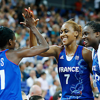 09 August 2012: France Sandrine Gruda, Jennifer Digbeu and Emilie Gomis celebrates at the end of the 81-64 Team France victory over Team Russia, during the women's basketball semi-finals, at the 02 Arena, in London, Great Britain.