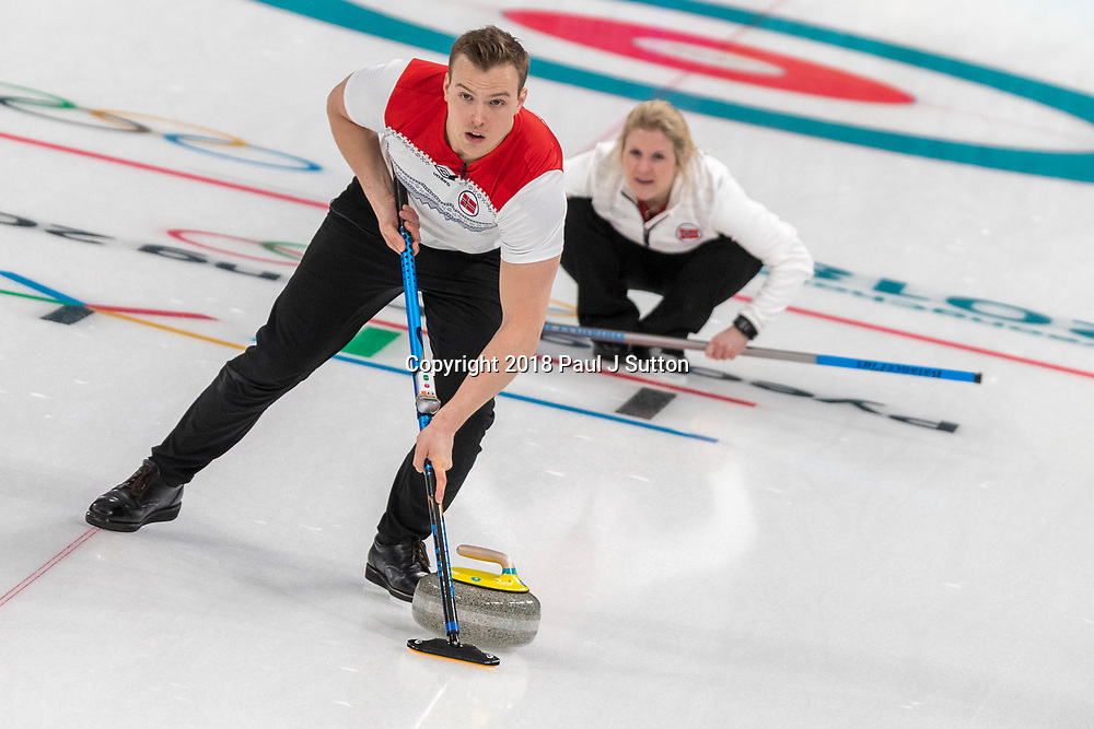Magnus Nedregotten and Kristin Skaslien (NOR) competing in the Mixed Doubles Curling round robin at the Olympic Winter Games PyeongChang 2018