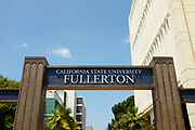 Sign and Arch at Langsdorf Hall on Campus of California State University Fullerton