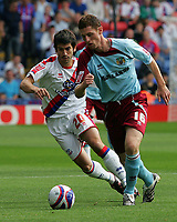 Crystal Palace FC vs Burnley FC Championship 23/08/08<br /> Photo Nicky Hayes/Fotosports International<br /> Chris McCann of Burnley fends off Danny Butterfield of Palace.
