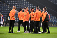 The Derby County players  get a feel for the pitch during the EFL Sky Bet Championship match between West Bromwich Albion and Derby County at The Hawthorns, West Bromwich, England on 14 September 2021.