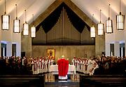 Priest celebrating mass, Daylesford Abbey.
