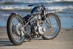 Austin Martin Originals' Austin Andrella's In Motion Bike Show custom Yamaha SX650 on the beach during the Lone Star Rally. Galveston, TX. USA. Sunday November 5, 2017. Photography ©2017 Michael Lichter.