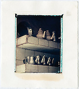 Teapots on a shelf ready to serve mint tea, Morocco<br /> Image size 4x5, Matted 12x10 Edition of 25 <br /> Archival Pigment Print