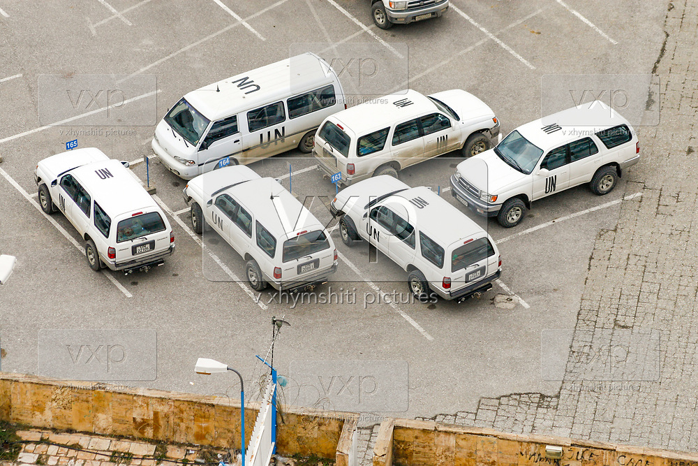 A general overview of the United Nations Mission in Kosovo transport vehicles within their parking lot in UNMIK HQ in Pristina, two days prior to the first anniversary of the declaration of independence of Kosovo, Feb 15, 2009. (Photo/ Vudi Xhymshiti)