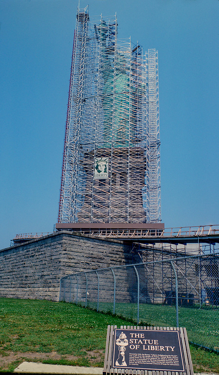 1984 Archive Photo of Restoration of Statue of Liberty behind Scaffolding