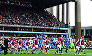 The Players walk out onto the pitch before k/o.  EFL Skybet championship match, Aston Villa v Birmingham city at Villa Park in Birmingham, The Midlands on Sunday 23rd April 2017.<br /> pic by Bradley Collyer, Andrew Orchard sports photography.