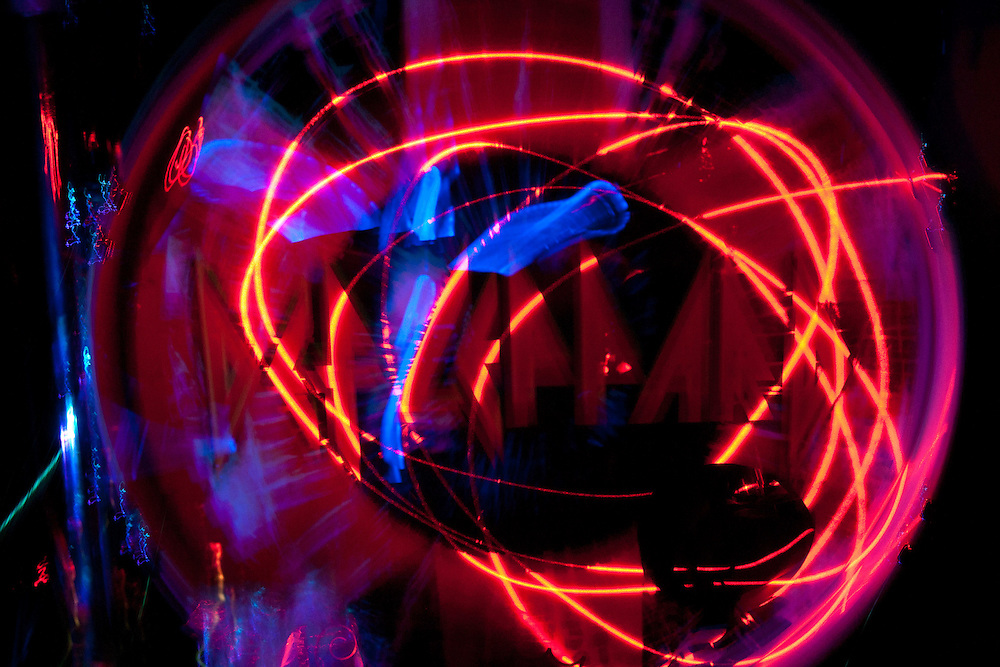 """Def Leppard's Rick Allen performs for ilán terrell's """"Drum Exposure Project."""" Light paintings created with the use of lighted drum sticks and ilán's camera movements."""