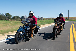 Steve Rinker on his1928 Indian Scout alongside Ziggy during the Motorcycle Cannonball coast to coast vintage run. Stage 6 (260 miles) from Bourbonnais, IL to Cedar Rapids, IA. Thursday September 13, 2018. Photography ©2018 Michael Lichter.