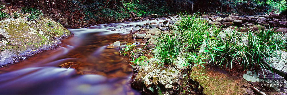 The cool clear waters from Thornton Peak flow over rapids on Noah Creek.<br /> <br /> Code: HAQT0040<br /> <br /> Limited Edition Print