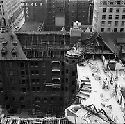 0001-E130 Razing of the Portland Hotel. Late October 1951. Photo by Gladys Smith. Taken from 14th floor of American Bank Building.