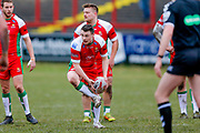 Keighley Cougars scrum half Matty Beharrell (7) in action  during the Betfred League 1 match between Keighley Cougars and Workington Town at Cougar Park, Keighley, United Kingdom on 18 February 2018. Picture by Simon Davies.