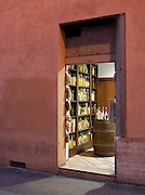 Shop near the Pantheon, selling Limoncello, a traditional Italian lemon liqueur in Rome, Italy
