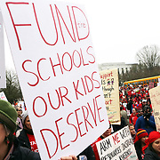 Anne Gibson  of Bend supports three siblings and a partner who are all teachers.<br /><br />Thousands of educators and their supporters from all over the state gather at the Oregon State Capitol to rally for adequate school funding. A select group of teachers and staff members spoke to Gov. Kate Brown about their experiences, and shared with her the challenges of being a teacher today.<br /><br />Photography by Thomas Patterson.