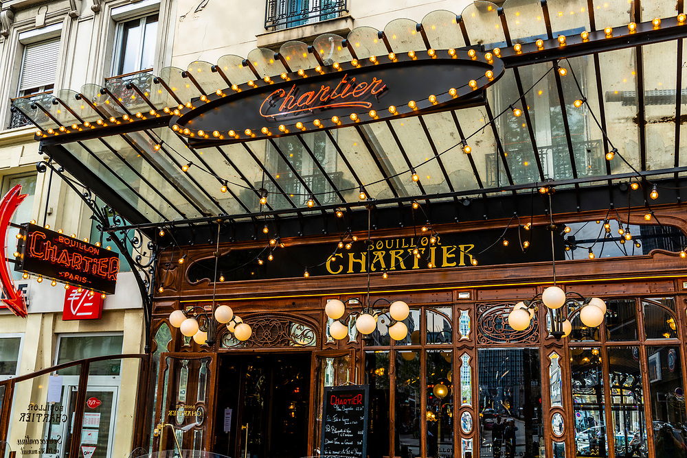 Exterior view, Bouillon Chartier Montparnasse, an art nouveau restaurant, Boulevard Montparnasse, Paris, France.