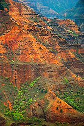 """Waimea Canyon, the """"Grand Canyon of the Pacific"""", approximately one mile wide and ten miles long, more than 3,500 feet deep, State Park, Kauai, Hawaii"""