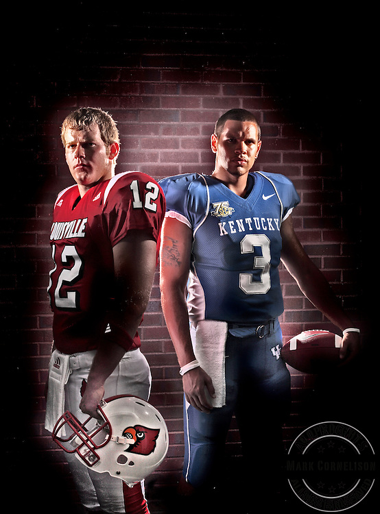 Louisville Quarterback Brian Brohm, left and Kentucky quarterback Andre' Woodson for football preview cover photographed on July 23, 2007. Photo by Mark Cornelison | Staff 3656