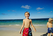 Boy on beach, Kailua, Oahu, Hawaii