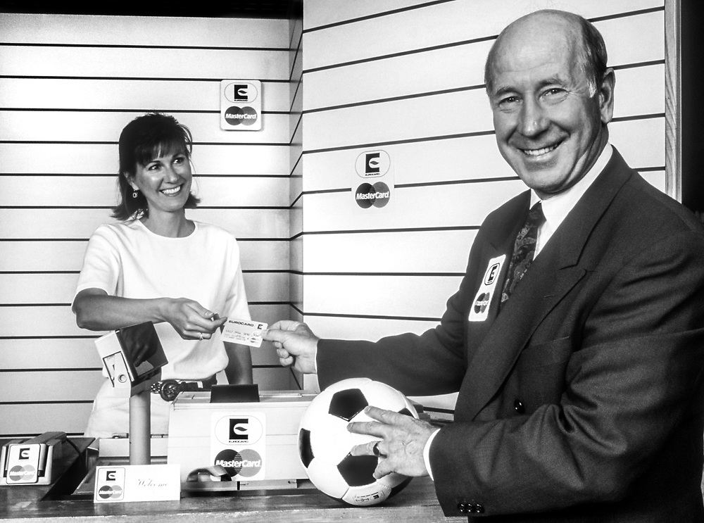 Manchester United and England legend - Sir Bobby Charlton, celebrity face of MasterCard.<br /> Client Mastercard