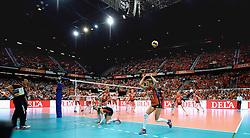 03-10-2015 NED: Volleyball European Championship Semi Final Nederland - Turkije, Rotterdam<br /> Nederland verslaat Turkije in de halve finale met ruime cijfers 3-0 / Ahoy Oranje gekleird, publiek, support, Anne Buijs #11, Debby Pilon-Stam #16, Maret Balkestein-Grothues #6
