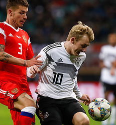 November 16, 2018 - Leipzig, Germany - Julian Brandt (R) of Germany and Roman Neustadter of Russia vie for the ball during the international friendly match between Germany and Russia on November 15, 2018 at Red Bull Arena in Leipzig, Germany. (Credit Image: © Mike Kireev/NurPhoto via ZUMA Press)