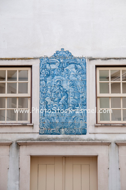 Blue tile decoration (Azulejos) at Praca do Comercio, (Commercial square) old town, Coimbra, Portugal