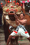 IINDONESIA, BALI, CULTURE costumed actors in Barong Dance